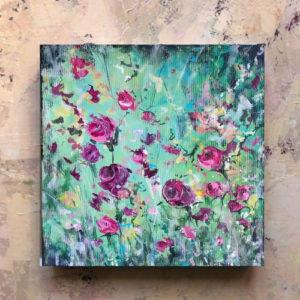 Flowerista quadro Rosa e Turchese