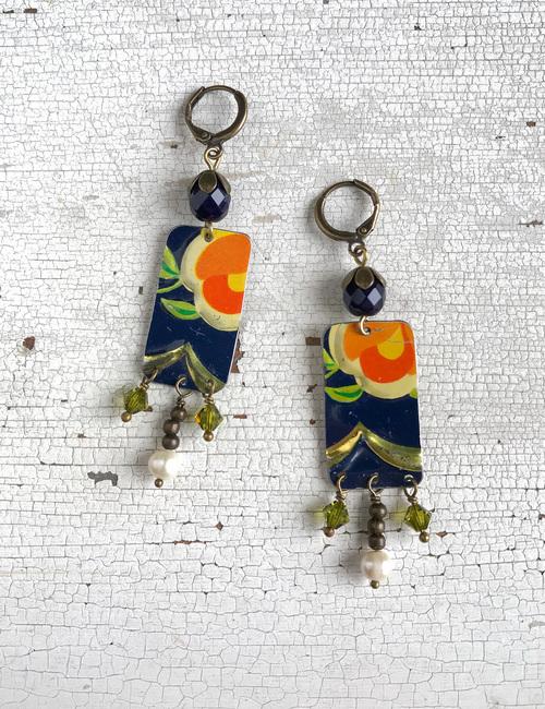 orecchini con perle e fiori vintage-fiordilatta-flowerista