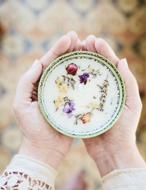 candela soia lavanda- aurum naturae- boutique flowerista